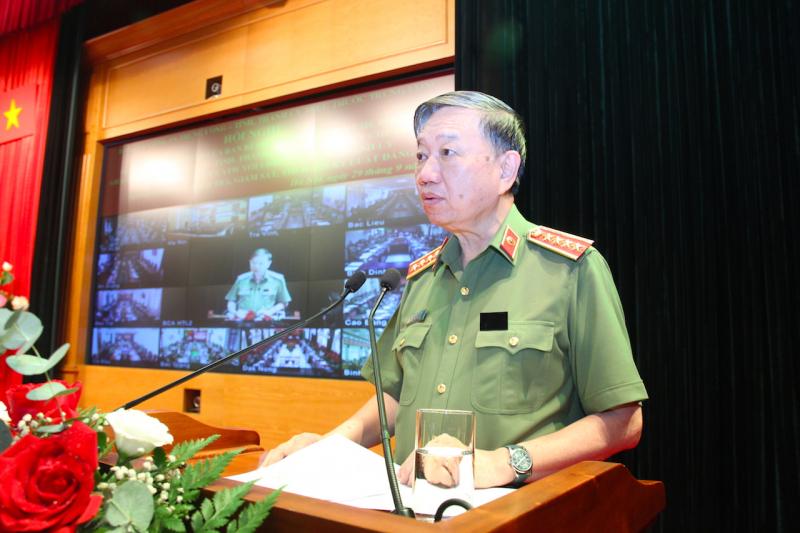 Bộ trưởng Tô Lâm phát biểu kết luận hội nghị. Ảnh: Quỳnh Vinh