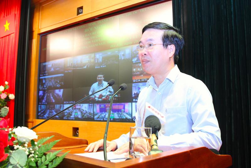 Thường trực Ban Bí thư Võ Văn Thưởng phát biểu chỉ đạo tại hội nghị. Ảnh: Quỳnh Vinh
