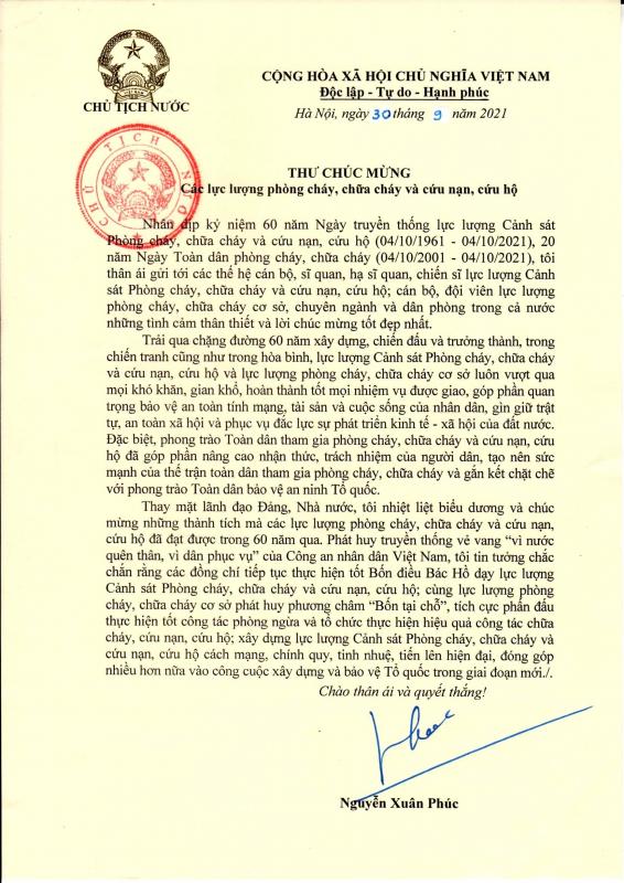 Chủ tịch nước Nguyễn Xuân Phúc gửi Thư chúc mừng các lực lượng PCCC và CNCH -0
